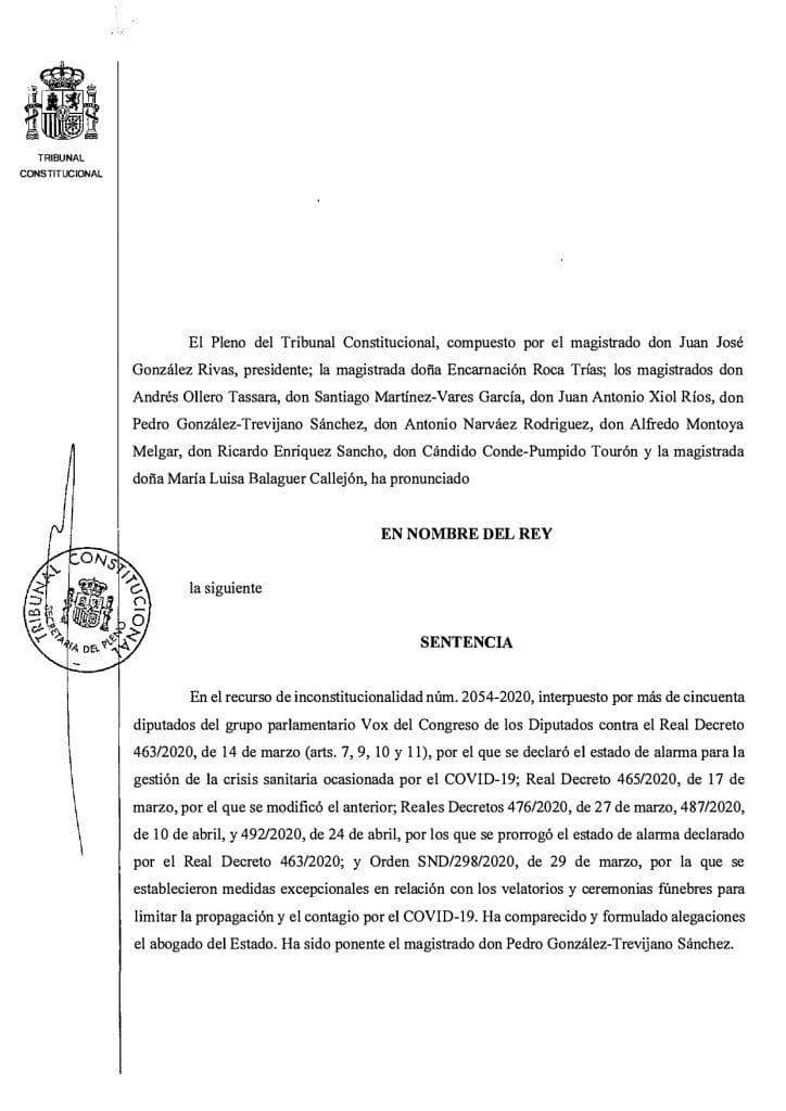 Sentencia del TC declarando inconstitucional el Estado de Alarma