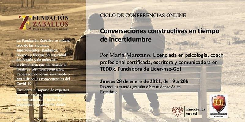 Ciclo conferencias online: «Conversaciones constructivas en tiempos de incertidumbre».
